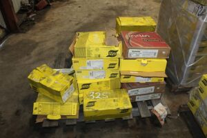 Pallet of ESAB Welding Wire (Various Sizes) - Approximately (3) Boxes of Part #245014576 - Approximately (15) Boxes of ESAB - Item #1204529 - Approximately (3) Boxes of Lincoln Same Size
