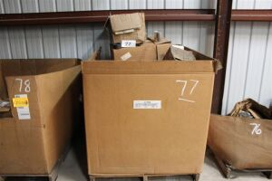 Pallet of Misc Bolts, Gasket Material, Cans, Paintbrushes